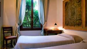La Seconde Chambre (lits jumeaux pouvant être réunis sur demande) de l'appartement Jardin de l'Orto à Venise.