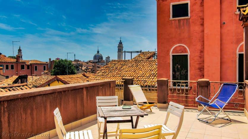 Location Lorenzo Severo Terrasse à Venise, la vue depuis la grande terrasse