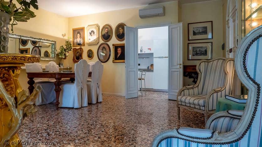 Location Palazzo Silvestro Rava à Venise, le salon salle à manger