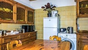 La cuisine de l'appartement Rialto Grand Canal, dans le sestier de San Polo à Venise.