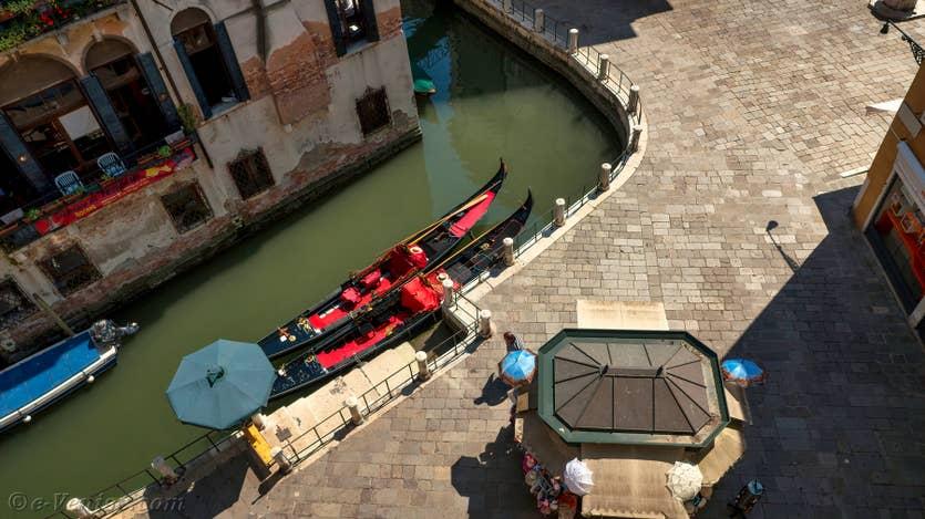 Location Santa Maria Terrasse à Venise, la vue sur les gondoles