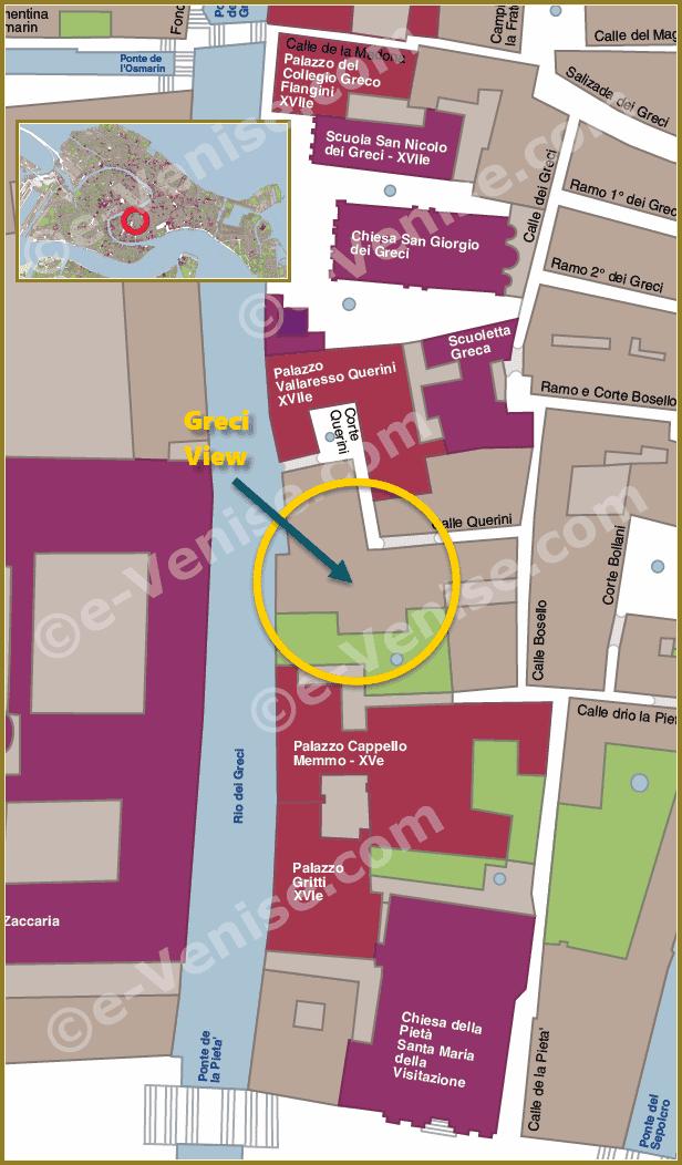 Plan de Situation à Venise de Greci View
