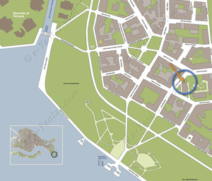 Plan de Situation à Venise du Jardin d'Elena