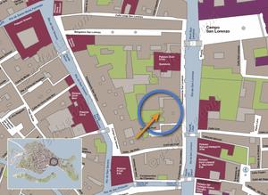 Plan de Situation à Venise du Jardin Lorenzo Lion