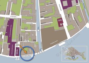 Plan de Situation à Venise de l'appartement Jardin Santo