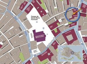 Plan de Situation à Venise du Palazzetto Formosa