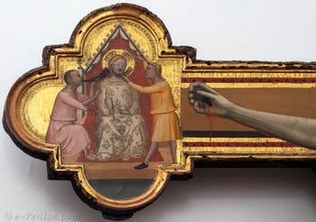 Bernardo Daddi, Crucifixion, huile sur bois et or, 1340-1345,  Galerie de l'Accademia à Florence en Italie