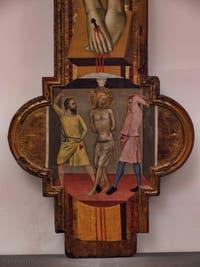 Bernardo Daddi, Crucifixion, huile sur bois et or, 1340-1345,  Galerie de l'Accadémia à Florence en Italie