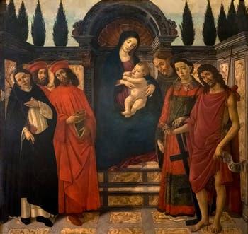 Botticelli, Retable du Trebbio, Vierge à l'Enfant Jésus et les Saints Dominique, Cosme, Damien, François, Laurent et Saint Jean Baptiste, détrempe sur toile, 1495-1497,  Galerie de l'Accadémia à Florence en Italie