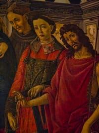 Botticelli, Vierge à l'enfant, Madonna et les Saints Dominique, Cosmas, Damian, Francis, Laurent et Jean-Baptiste, détrempe sur toile, 1480-1500,  Galerie de l'Accadémia à Florence en Italie