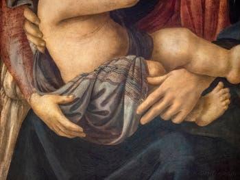 Botticelli, Madonna Vierge à l'enfant, saint Jean et deux anges, détrempe sur bois, 1468,  Galerie de l'Accadémia à Florence en Italie