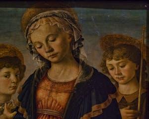 Botticelli, Madonna Vierge à l'enfant, Saint-Jean et deux anges, détrempe sur bois, 1468,  Galerie de l'Accadémia à Florence en Italie