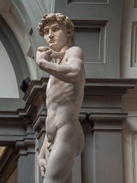 Michel-Ange Buonarroti, David, statue en marbre, 1501-1504, Galerie de l'Accademia à Florence Italie