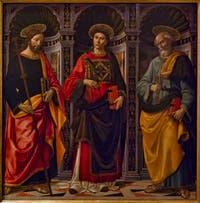 Domenico Ghirlandaio, Saint-Stéphane entre Saint-Jacques et Saint-Pierre, 1493, huile sur bois,  Galerie de l'Accadémia à Florence en Italie