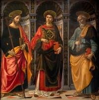 Domenico Ghirlandaio, saint Stéphane entre saint Jacques et saint Pierre, 1493, huile sur bois,  Galerie de l'Accadémia à Florence en Italie