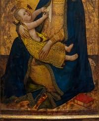 Don Silvestro dei Gherarducci, Madonna, Vierge de l'humilité et anges, détrempe sur bois et feuille d'or, 1370-1375 Galerie de l'Accadémia à Florence en Italie