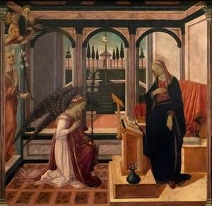 Maestro de la Nativita Johnson, Filippino Lippi, Annonciation, huile sur bois, 1475-1480, Galerie de l'Accadémia à Florence en Italie
