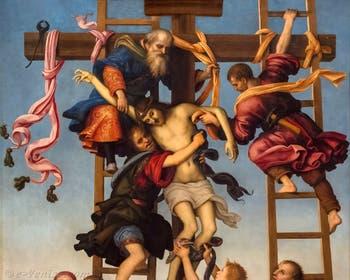 Filippino Lippi et Pietro Perugino, Déposition de croix, 1504-1507, huile sur bois, Galerie de l'Accadémia à Florence en Italie