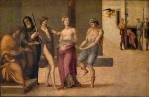 Francesco Granacci, Flagellation de Sainte-Apollonia, huile sur bois, 1530, Galerie de l'Accadémia à Florence en Italie