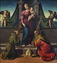 Francesco Granacci, Madonna con bambino e Santi, Vierge à l'enfant et les Saints François, Zanobi ou Zénobe, huile sur toile, 1508-1510, Galerie de l'Accadémia à Florence en Italie
