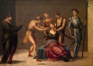 Francesco Granacci, Martyre des dents de Sainte-Apollonia, huile sur bois, 1530, Galerie de l'Accadémia à Florence en Italie