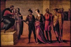 Francesco Granacci, Sainte-Apollonia devant le roi, huile sur bois, 1530, Galerie de l'Accadémia à Florence en Italie