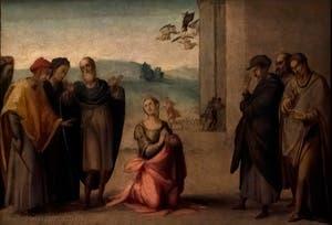 Francesco Granacci, Sainte-Apollonia secours des anges, huile sur bois, 1530, Galerie de l'Accadémia à Florence en Italie