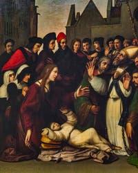 Ridolfo del Ghirlandaio, Saint-Zenobe ressuscite un jeune homme, huile sur bois, 1516, Galerie de l'Accadémia à Florence en Italie
