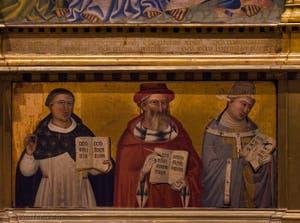 Giovanni del Biondo, Annonciation et le Père éternel bénissant les anges et les saints martyrs, détrempe sur bois, 1380-1385, Galerie de l'Accadémia à Florence en Italie