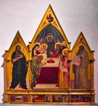 Giovanni del Biondo, Présentation de Jésus au Temple, Saint-Jean-Baptiste et Saint-Benoît, détrempe sur bois et or, 1364, Galerie de l'Accadémia à Florence en Italie