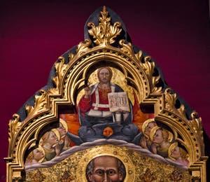 Giovanni del Biondo, Saint-Jean-Evangéliste en Trône piétinant les vices et Christ bénissant les anges, détrempe sur bois, 1380-1385, Galerie de l'Accadémia à Florence en Italie
