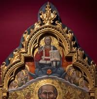 Giovanni del Biondo, saint Jean Évangéliste en Trône piétinant les vices et Christ bénissant les anges, détrempe sur bois, 1380-1385, Galerie de l'Accadémia à Florence en Italie