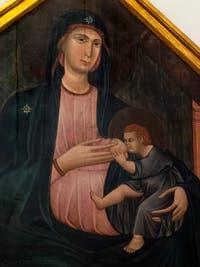 Grifo di Tancredi, Madonna col Bambino in trono, Vierge à l'enfant en trône, saint Paul, saint Jean-Baptiste, saint Jean Évangéliste, saint Pierre, détrempe sur bois, 1300, Galerie de l'Accadémia à Florence en Italie