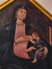 Grifo di Tancredi, Madonna col Bambino in trono, Vierge à l'enfant en trône, Saint-Paul, Saint-Jean-Baptiste, Saint-Jean-Evangéliste, Saint-Pierre, détrempe sur bois, 1300, Galerie de l'Accadémia à Florence en Italie
