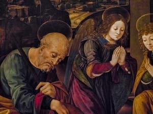 Lorenzo di Credi, Adoration de l'enfant Jésus, détrempe sur bois, 1496-1500, Galerie de l'Accademia à Florence Italie
