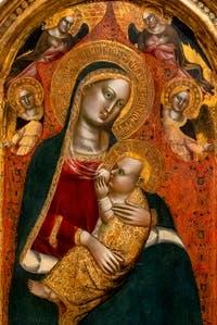 Maestro dell' Altare di San Niccolo, Vierge de l'humilité et anges, détrempe sur bois, 1360-1365, Galerie de l'Accademia Florence Italie