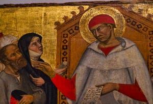 Maestro di Sant'Ivo, Sant'Ivo, Saint-Yves rend la justice, détrempe sur bois, 1405-1410, Galerie de l'Accademia, Florence Italie