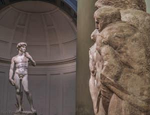 Michel-Ange Buonarroti, Pietà de Palestrina et Saint-Jean-évangéliste, sculpture marbre de 1547-1559, Galerie de l'Accademia à Florence Italie