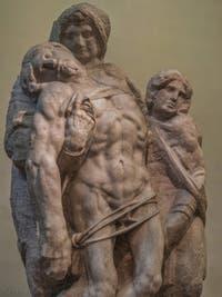 Michel-Ange Buonarroti, Pietà de Palestrina et saint Jean Évangéliste, sculpture marbre de 1547-1559, Galerie de l'Accademia à Florence Italie
