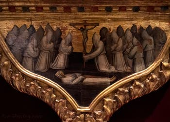 Niccolo di Pietro Gerini, Christ en piété avec les symboles de la Passion, en bas, le Rédempteur et saint Thomas d'Aquin, les apôtres Simon et Taddeo, détrempe sur bois, Galerie de l'Accademia à Florence, Italie