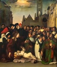 Ridolfo del Ghirlandaio, saint Zénobe ressuscite un jeune homme, huile sur bois, 1516, Galerie de l'Accadémia à Florence en Italie