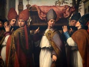 Ridolfo del Ghirlandaio, Translation du corps de saint Zénobe, San Zanobi, huile sur bois, 1516, Galerie de l'Accadémia à Florence en Italie