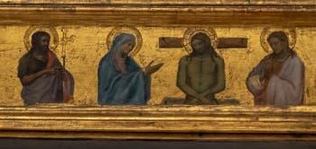 Taddeo Gaddi, Vierge à l'enfant, 1355 et Niccolo di Pietro Gerini, Christ bénissant entre deux prophètes, Vir Dolorum entre les lamentations et six Saints, détrempe sur bois, 1395-1400, Galerie de l'Accademia à Florence Italie