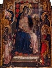 Taddeo Gaddi, Vierge à l'enfant en trône entourée de Saints et d'anges, détrempe sur bois, 1325-1300, Galerie de l'Accademia, Florence Italie