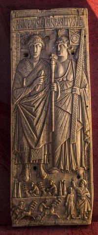 Art Romain, Le Consul Basilo et l'allégorie de Rome, 480 après J.C., Musée du Bargello à Florence Italie