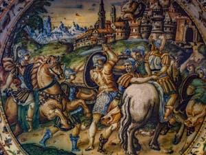 Atelier Fontana, Taddeo Zuccari, Plat décoré, César libère un prisonnier, 1565-1575, musée du Bargello à Florence Italie
