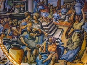 Atelier Fontana, Taddeo Zuccari, Plat décoré scène Congiarum, 1565-1575, musée du Bargello à Florence Italie