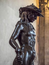 Donatello, David, Sculpture Bronze doré, 1440, Musée du Bargello à Florence Italie