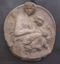 Michel-Ange Buonarroti, Vierge à l'Enfant et saint Jean enfant, Tondo Pitti, 1505, Musée du Bargello à Florence Italie