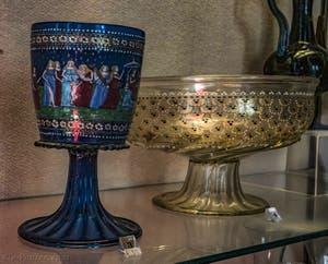 Angelo Barovier, Coupe Barovier du Triomphe de la vertu, en verre de Murano émaillé, deuxième moitié du XVe siècle, musée du Bargello à Florence Italie
